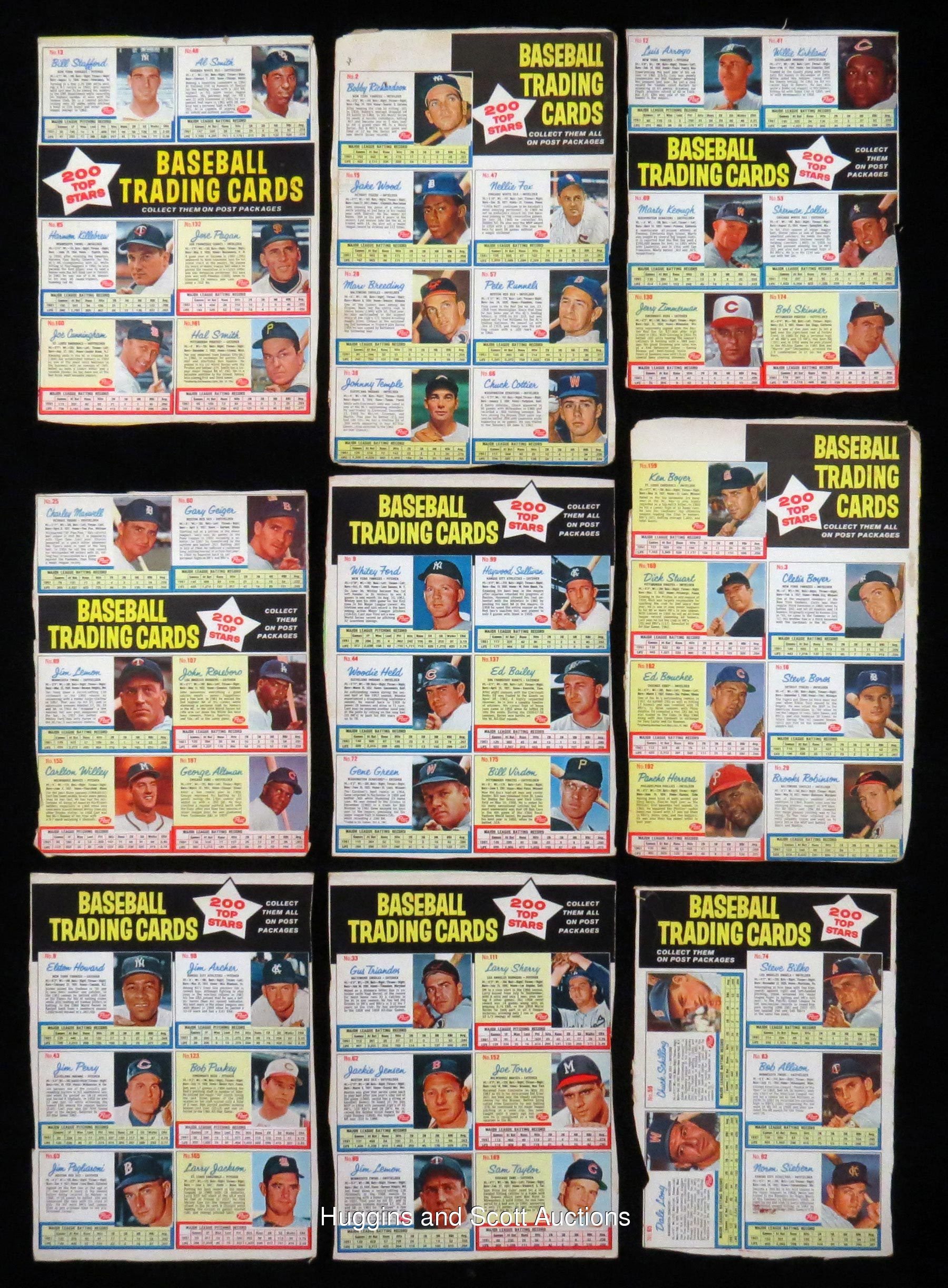 18 1962 Post Cereal Baseball Uncut Back Panels With Clemente